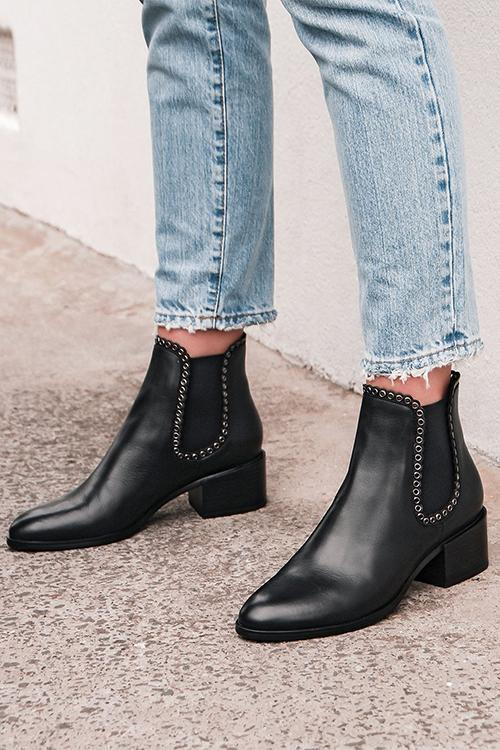 Leather Elastic Studded Ankle Boots