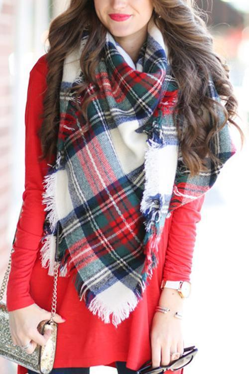 White Plaid Blanket Scarf