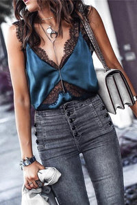 Lace Patchwork Sleeveless Tank Top