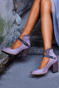 Chunky Heel Buckle Pumps