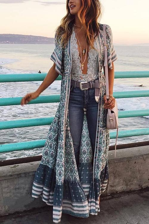 Print V Neck Short Sleeve Maxi Dress