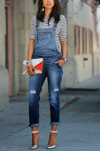Ripped Sleeveless Denim Overall