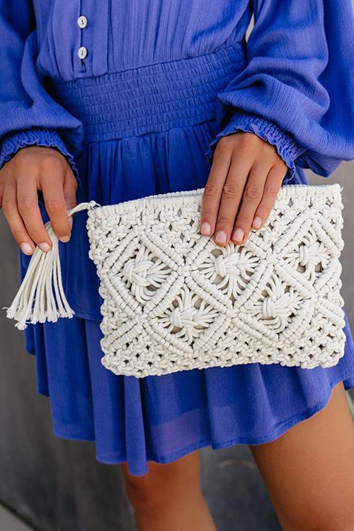 Weave Tassels Clutch Bag