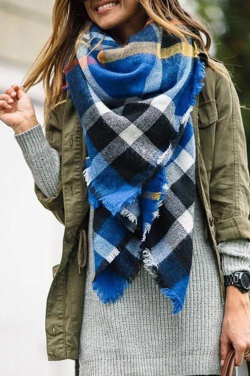 Blue Plaid Blanket Scarf