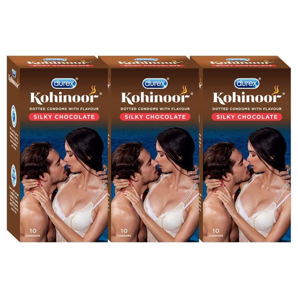 Kohinoor Condoms, Silky Chocolate - 10 Units (Pack of 3)