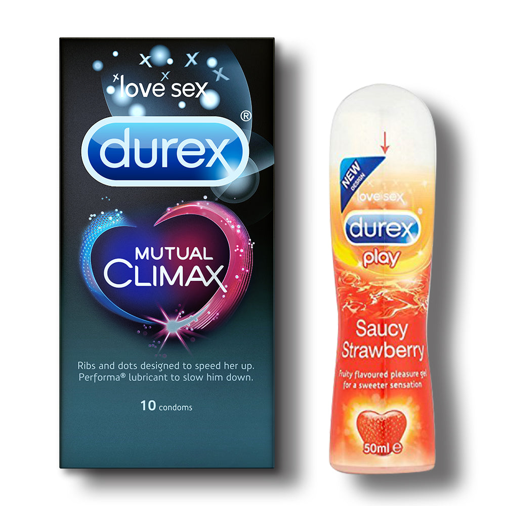 Durex Mutual Climax Condoms - 10s with Strawberry Lubricant Gel - 50ml