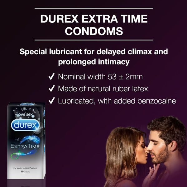 Durex Condoms, Extra Time- 10 Units 2 Hour Delivery