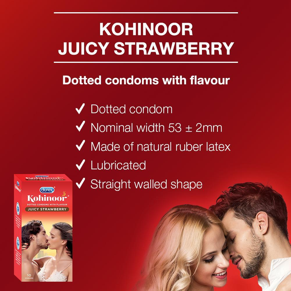 Kohinoor Condoms Juicy Strawberry -10 Units ( Pack of 3)