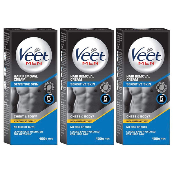 Veet Hair Removal Cream for Men, Sensitive skin, 100g Each (Pack of 3)