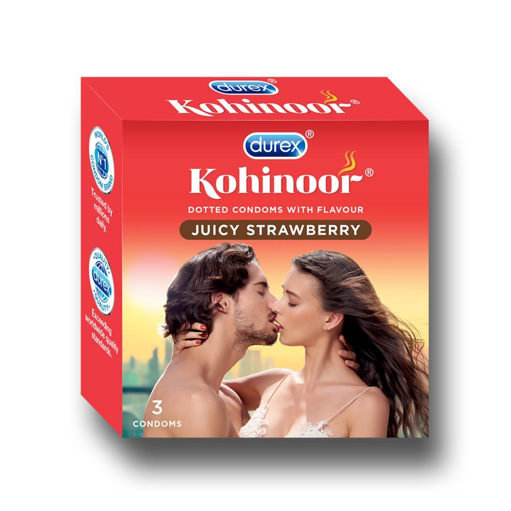 Kohinoor Condoms, Juicy Strawberry- 3 Units
