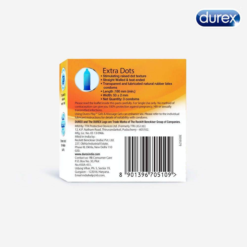 Durex Extra Dots - 3 Condoms