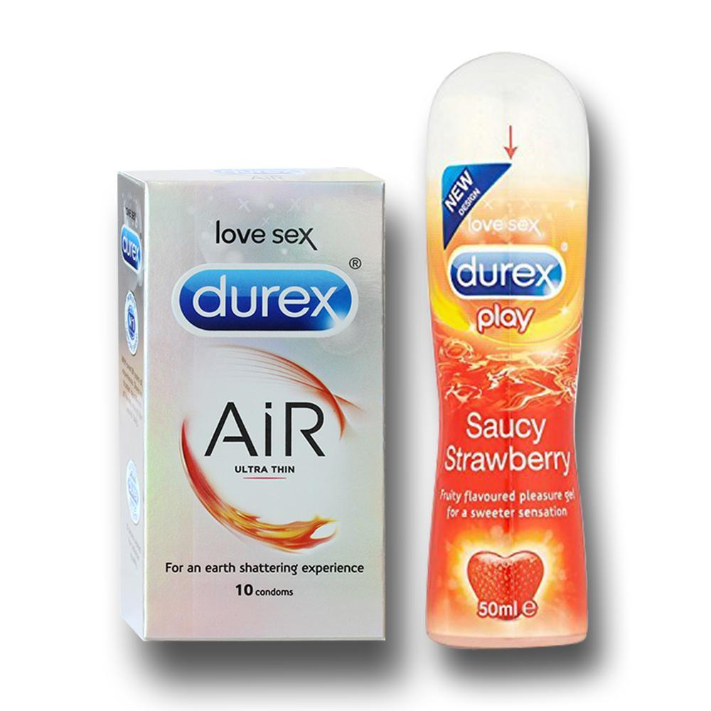 Pleasure Packs (Durex Strawberry 50ml, Air 10 Units)