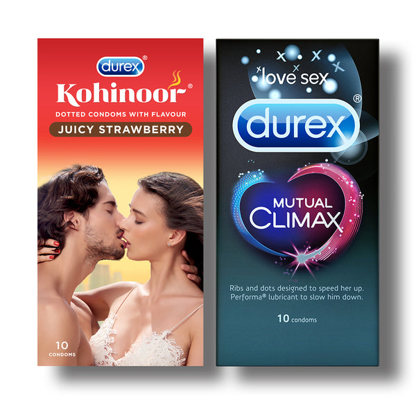Kohinoor Condoms, Juicy Strawberry- 10 Units with Mutual Climax 10s