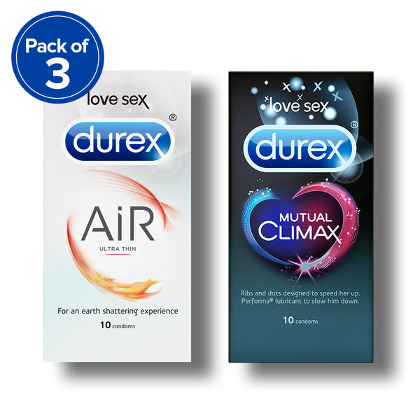 Durex Condoms, Air- 10 Units (Pack of 3) with Mutual Climax 10s