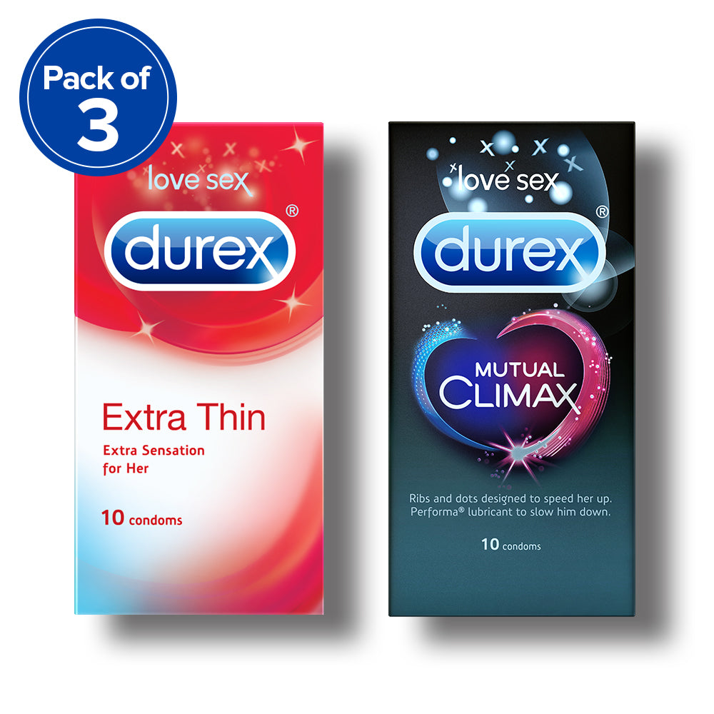 Durex Condoms, Extra Thin- 10 Units (Pack of 3) with Mutual Climax 10s