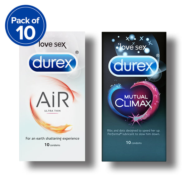 Durex Condoms, Air- 10s (Pack of 10) with Mutual Climax 10s