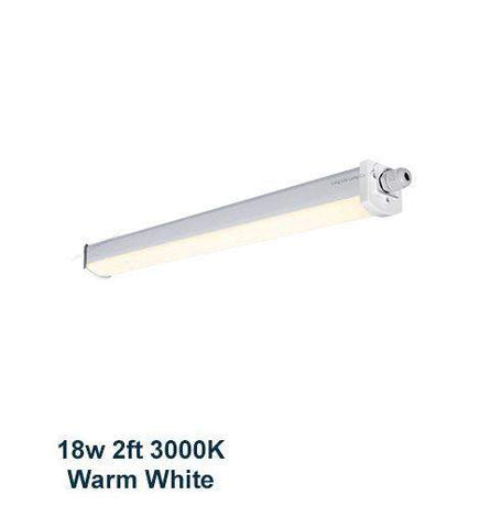 18w 2 feet LED Ceiling Batten Light Triproof Fitting IP66 Warm White 3000K