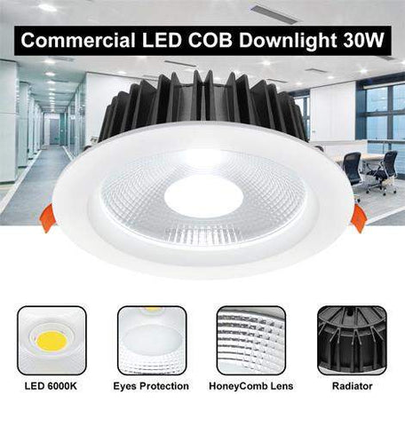 COB 30W Recessed Commercial LED Downlight 6000k PL Metal Halide Replacement CDL30