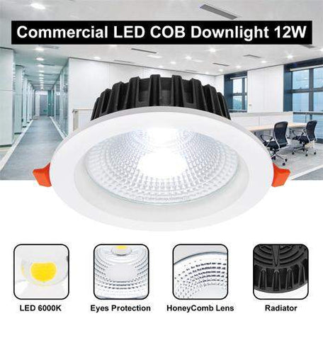 COB 12W Recessed Commercial LED Downlight 6000k PL Metal Halide Replacement CDL12