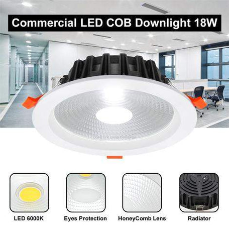 COB 18W Recessed Commercial LED Downlight 6000k PL Metal Halide Replacement CDL18