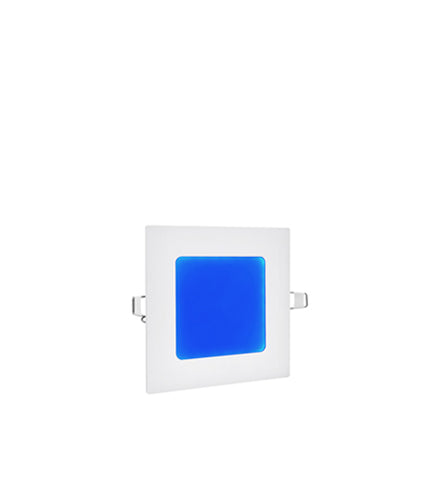 6w Recessed Ceiling LED Square Panel Blue 118 x 118