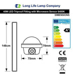45w 5 feet Motion Sensor LED Ceiling Batten Tube Light IP66 6400K