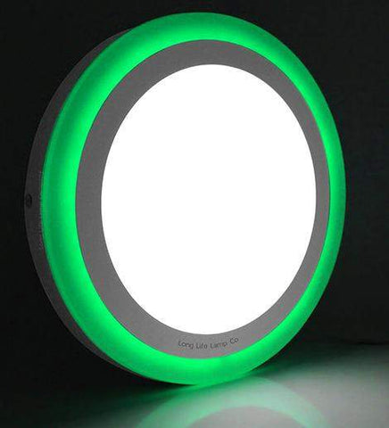18w Surface Mount LED Round Panel Green 247mm