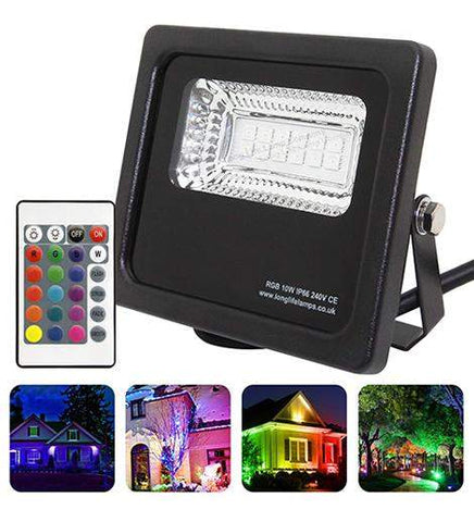 10w Outdoor RGB LED Black Floodlight IP65 Waterproof Colour Changing