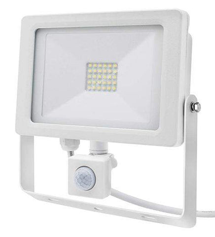 30w Outdoor LED PIR Floodlight White Body IP65 Cool White 6000k