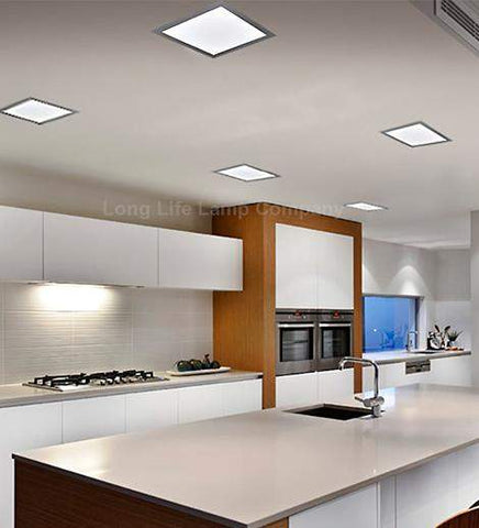 24w Recessed Ceiling LED Square Panel Silver Body White 300 x 300