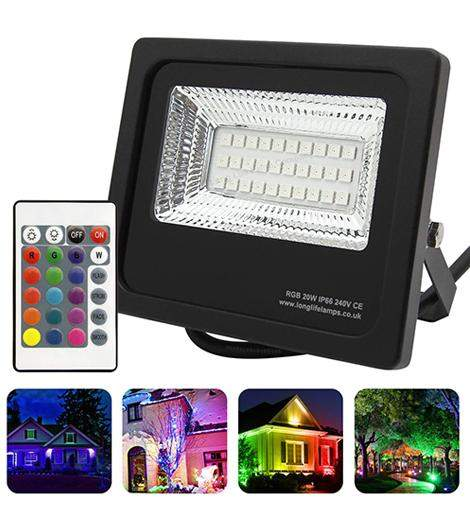 20w Outdoor RGB LED Black Floodlight IP65 Waterproof Colour Changing