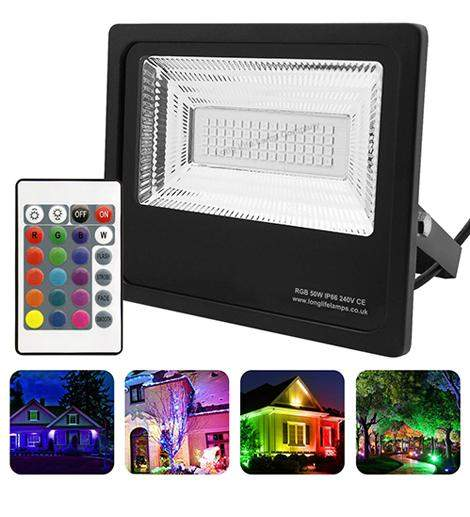 50w Outdoor RGB LED Black Floodlight IP65 Waterproof Colour Changing