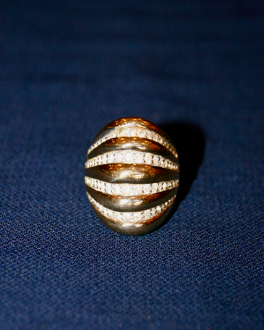 1970's PANETTA sterling silver, gold plate ridge ring