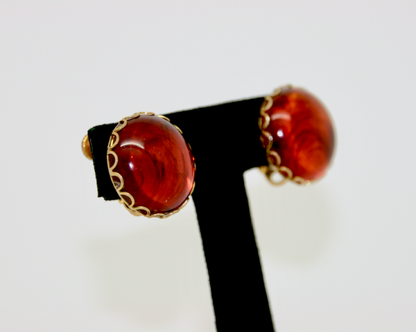 1950's MIRIAM HASKELL amber glass round earrings