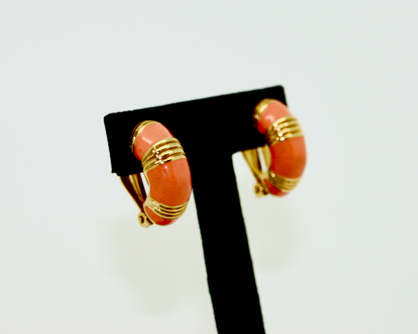 1980's-90's KJL coral enamel half hoop earrings