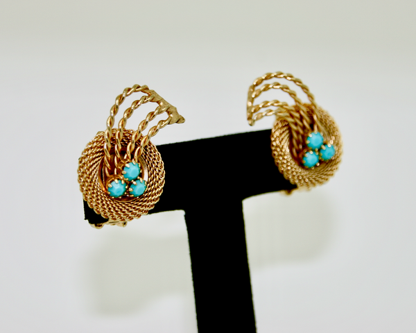 1960's HOBÉ gold mesh & turquois earrings