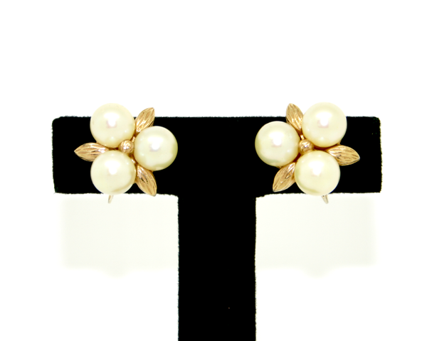 1960's CINER three faux pearl earrings