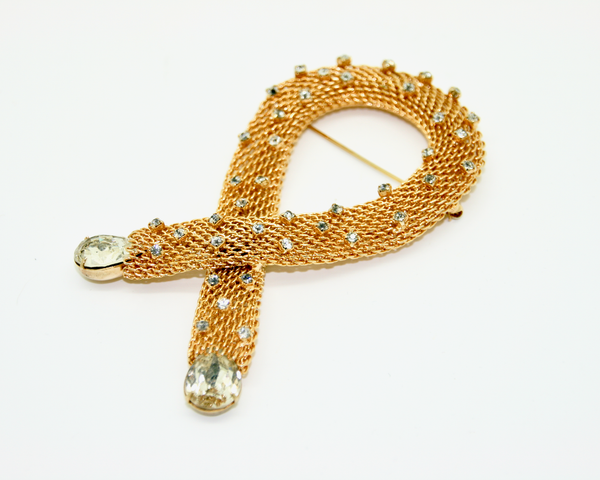 1960's HOBÉ gold plate mesh and crystal loop brooch