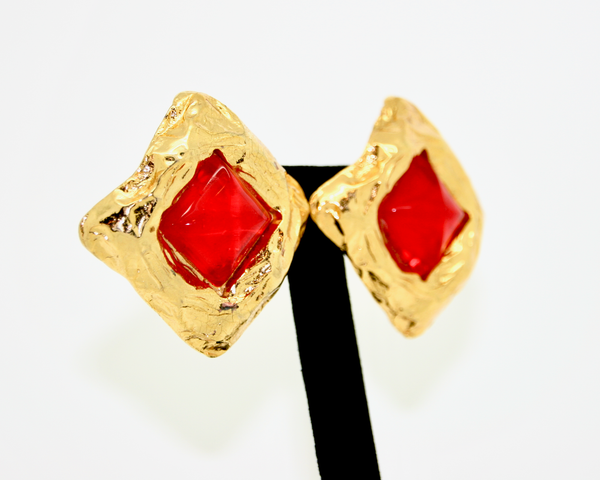 1980's EDOUARD RAMBAUD gold & red square earrings