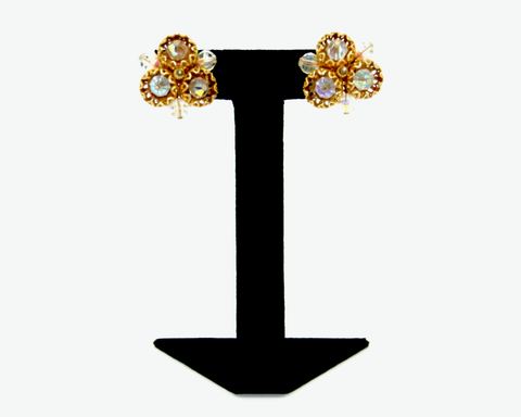 1950's VENDOME gold filigree and crystal bead earrings