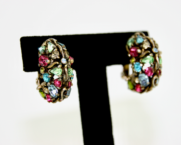 1950's HOLLYCRAFT rhinestone half hoop earrings