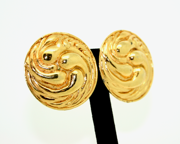 1980's EDOUARD RAMBAUD large round gold swirl earrings