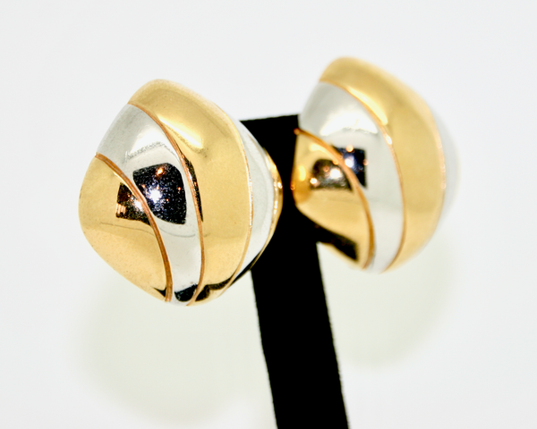 1980's CINER gold and silver fan earrings