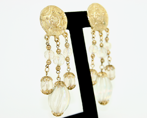 1980's Etruscan gold and aurora borealis lucite shoulder dusters
