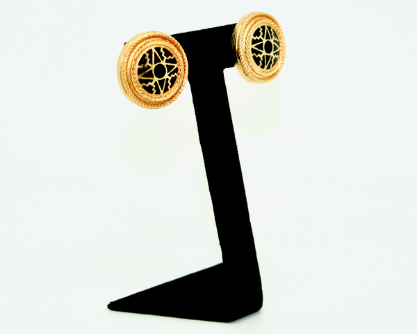 1970-1980's LIBERTY of London matt gold and black round earrings