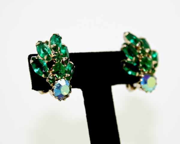 1950's WEISS green crystal rhinestone earrings