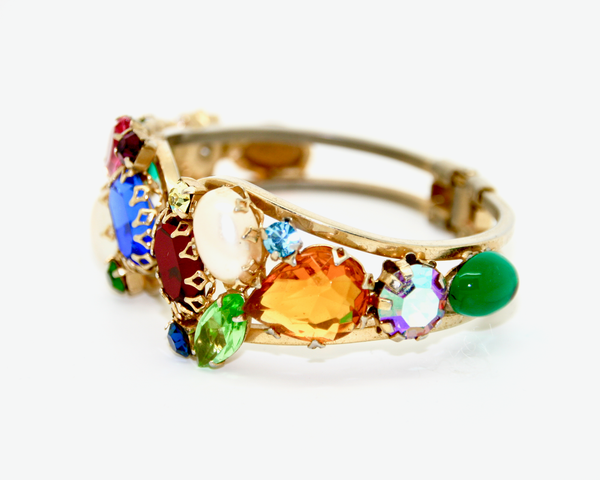 1960's JULIANA multi colour and pearl spring cuff