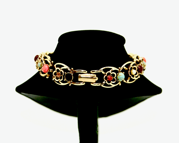 1950's JEWLECRAFT multi colour glass and stone gold bracelet