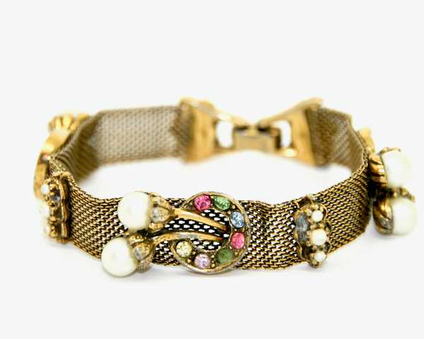 1950-60's Mesh and faux pearl with pastel rhinestones bracelet