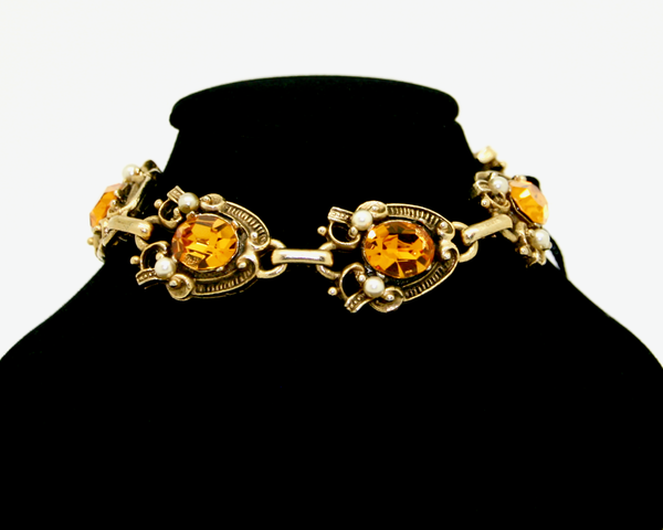 1950's JEWELCRAFT topaz crystal and pearl bracelet